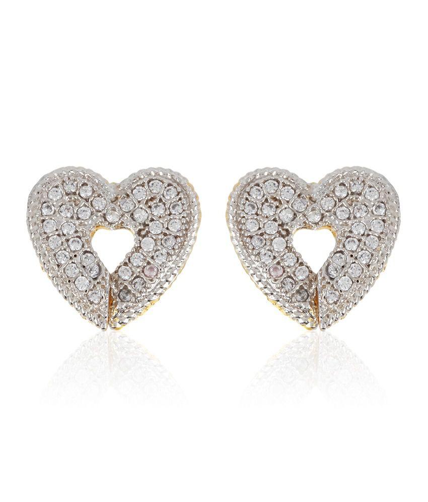 Jewels Galaxy Hearts Ameican Diamond Earrings