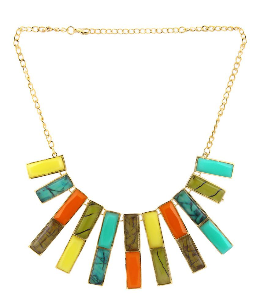 Luxor Green Alloy Casual Hit Necklace