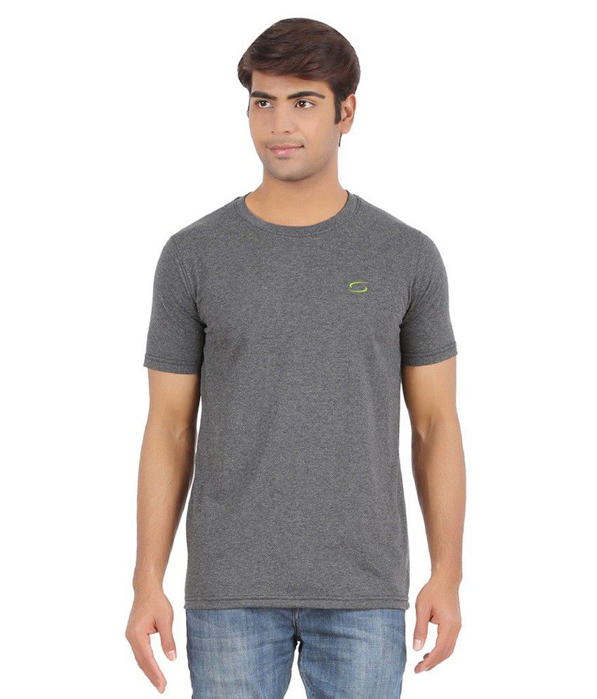 Ap'pulse Gray Cotton Sports T-Shirt