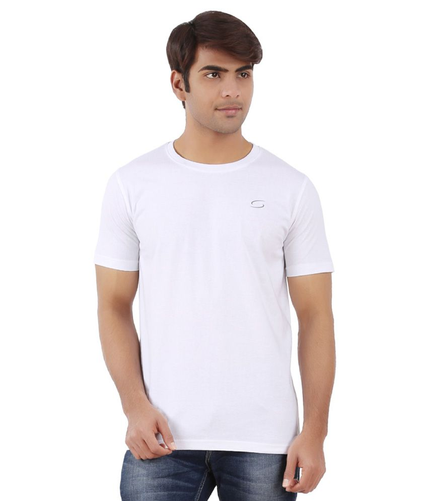 Ap'pulse White Cotton Sports T-Shirt