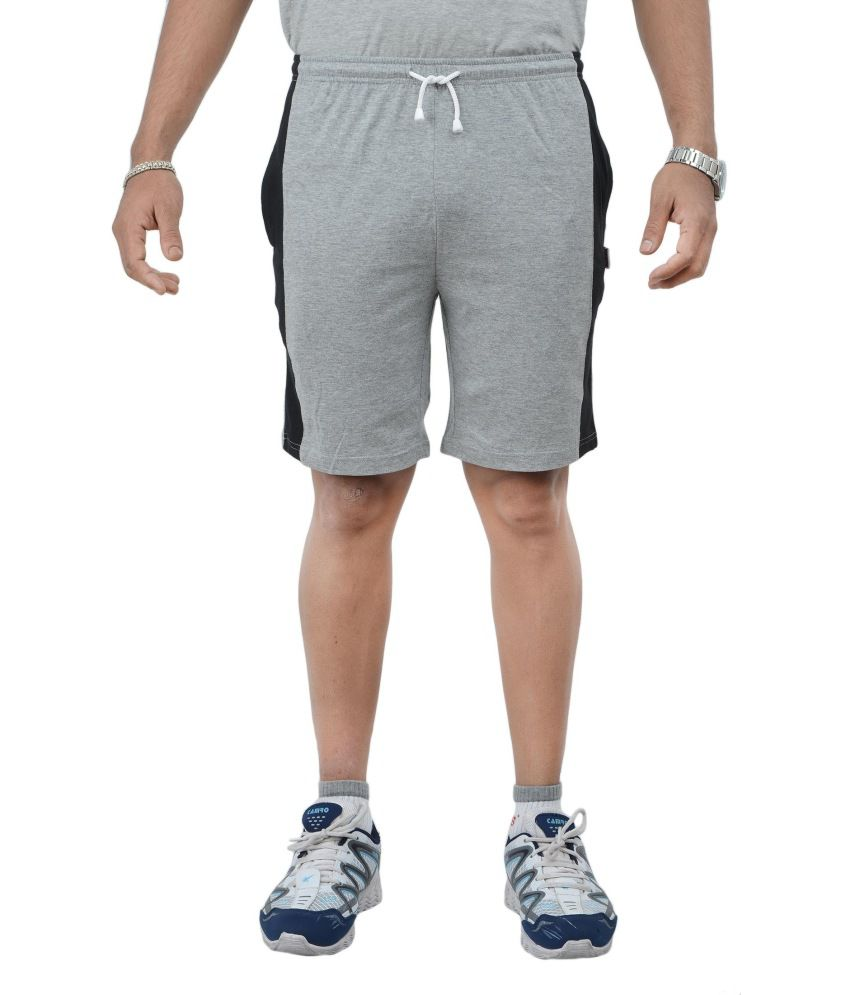 Teestadka Grey And Black Cotton Sports Shorts