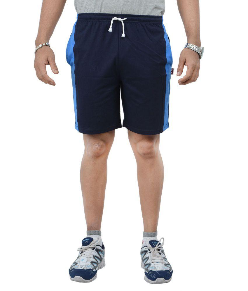 Teestadka Light Blue Cotton Sports Shorts