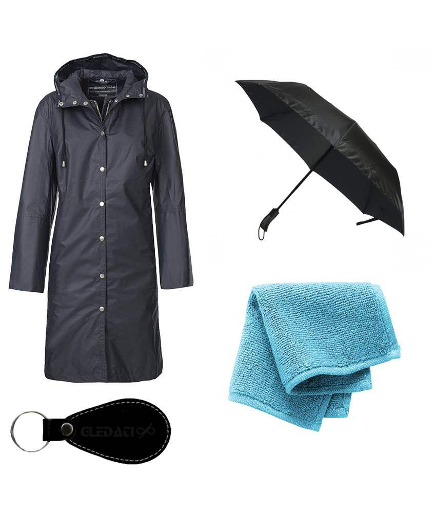 Gledati Black Polyester Combo Of Raincoat, Umbrella & Towel Handkerchief