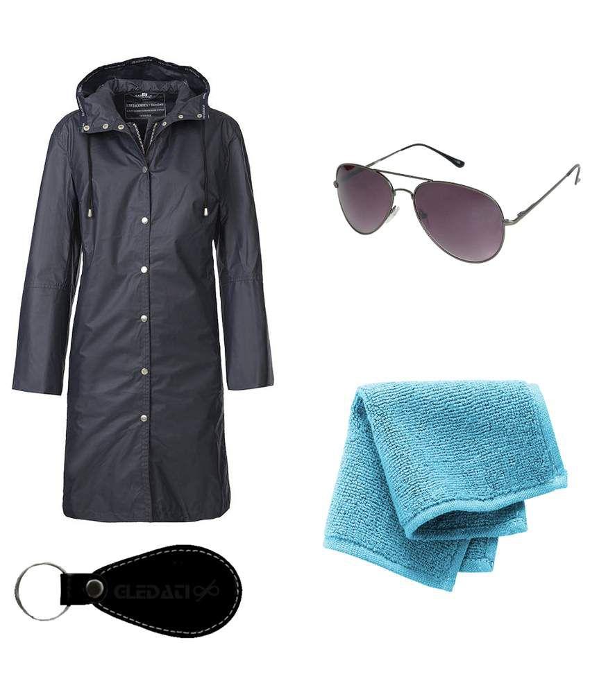 Gledati Black Polyester Combo Of Raincoat, Sunglasses & Towel Handkerchief