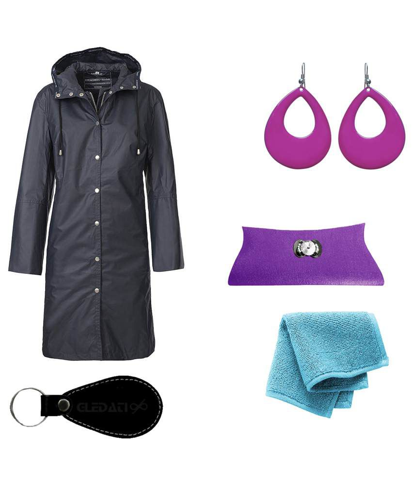 Gledati Black Polyester Combo Of Raincoat, Towel Handkerchief, Clutch & Dangler Earring
