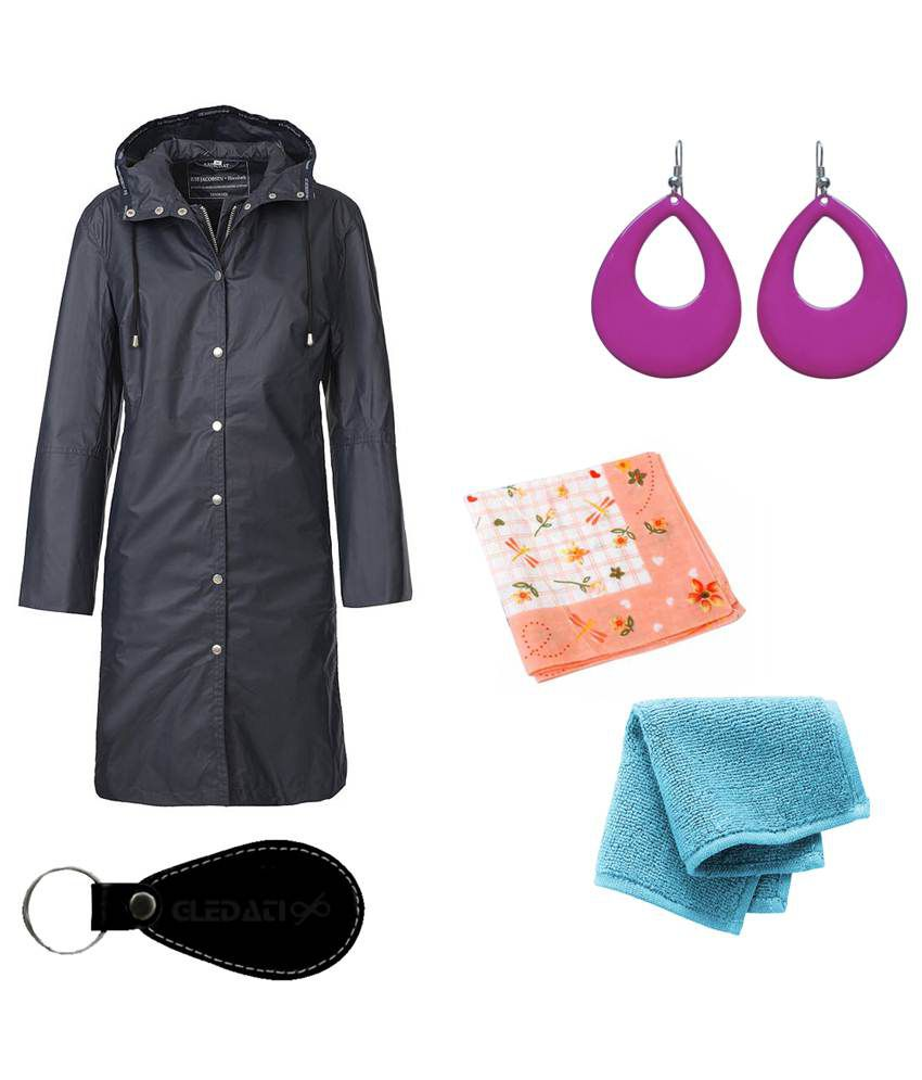 Gledati Black Polyester Combo Of Raincoat, Towel Handkerchief, Handkerchief & Dangler Earring