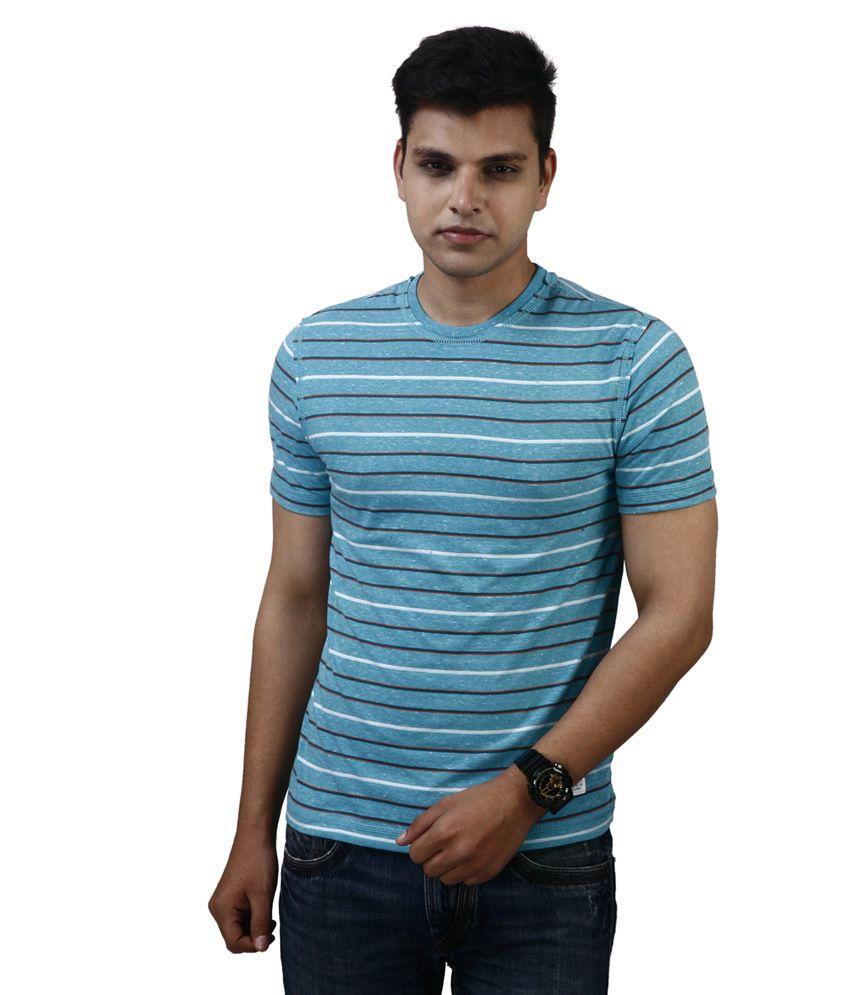 Modimania Blue Cotton Round Neck T-Shirt