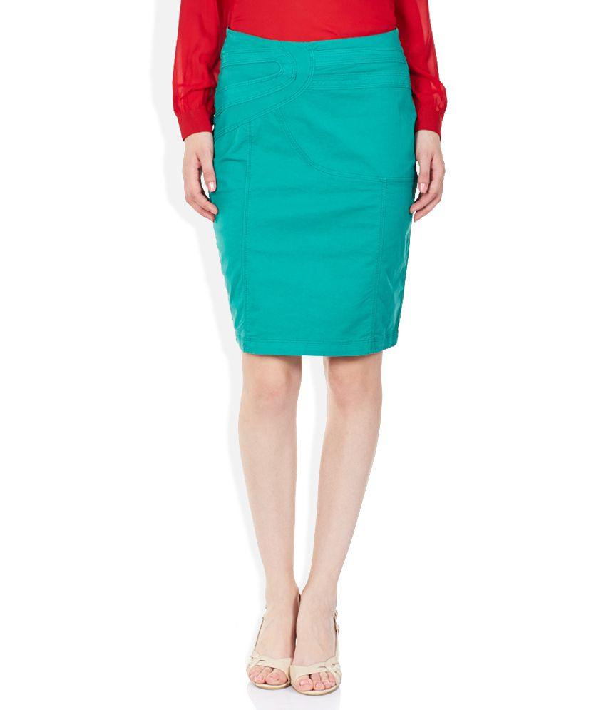7d66409f95b6 Buy Park Avenue Woman Turquoise Green Pencil Skirt Online at Best Prices in  India - Snapdeal