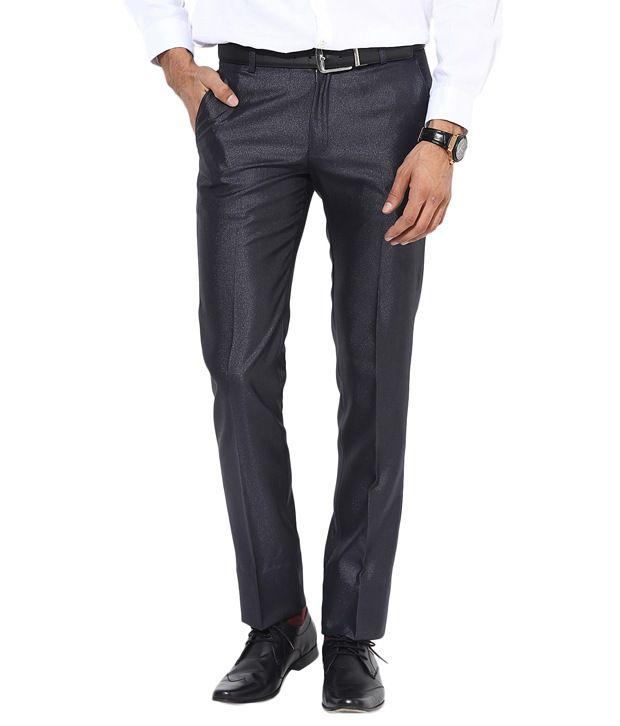 BUKKL Slim Fit Dark Blue Formal Trouser For Men