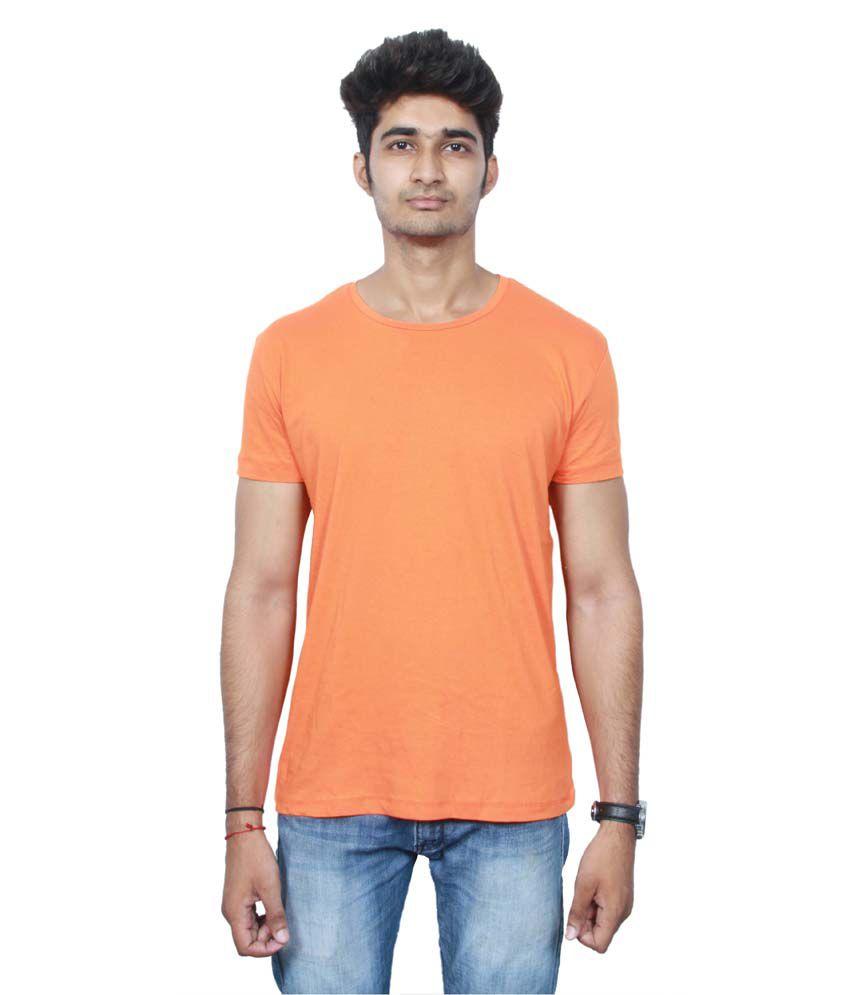Llevars Orange Cotton T Shirt