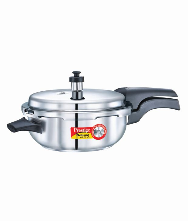 Prestige Deluxe Alpha Base 4.8 L Senior Pan SS Pressure Cooker (Induction Bottom, Outer Lid)