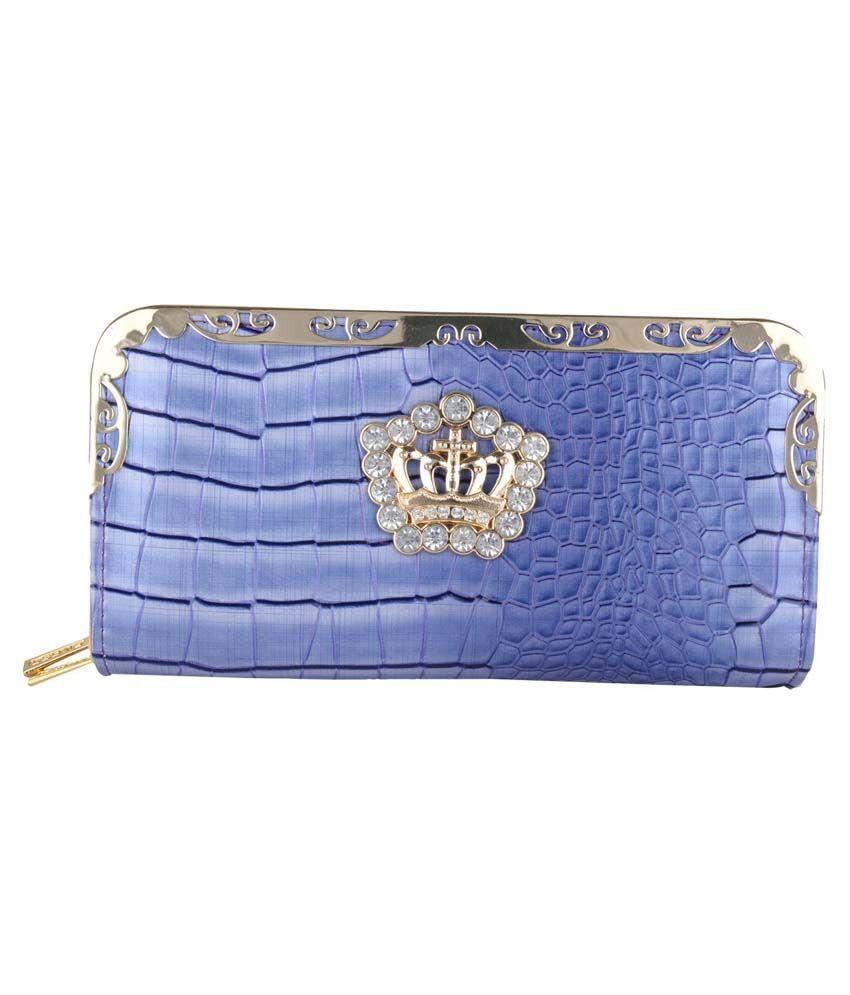 Venus Leather Clutch-Blue