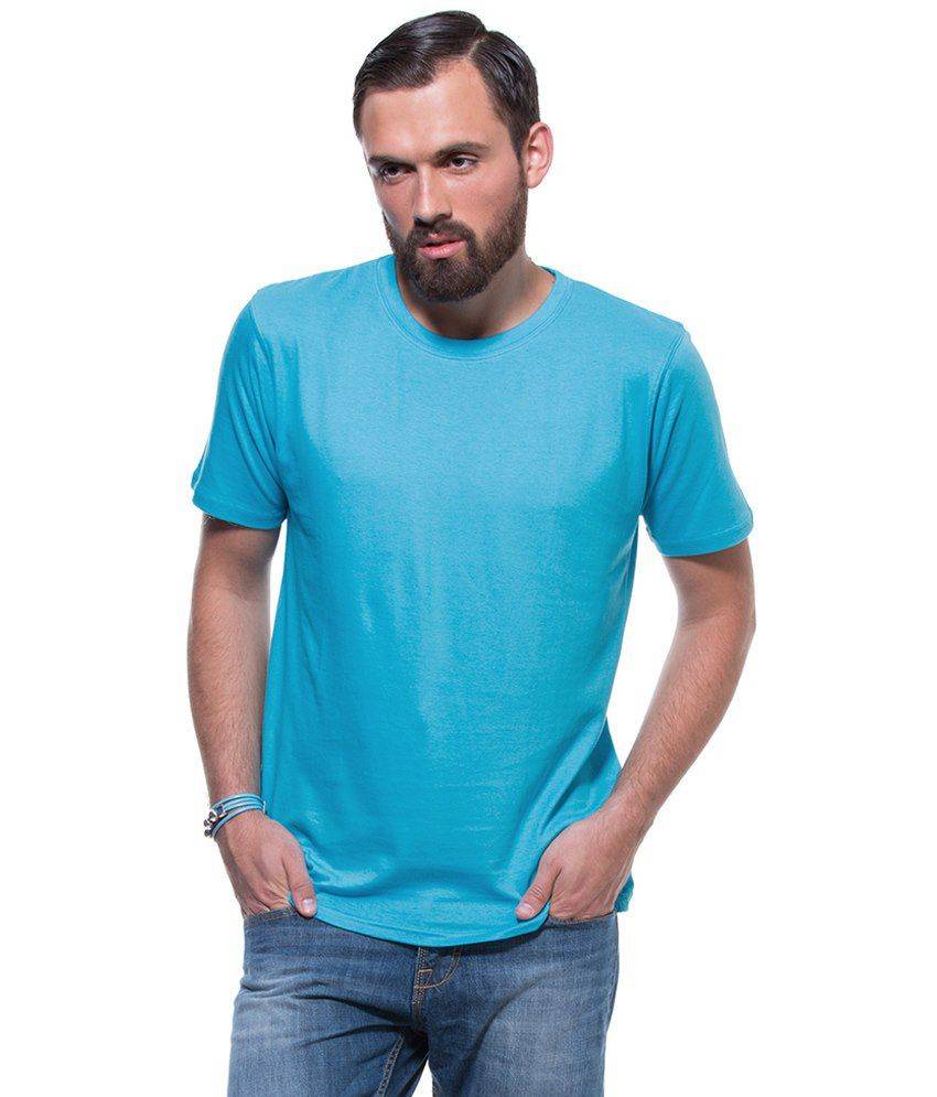 GTN Blue Cotton Round Neck Half Sleeve Basics T-Shirt