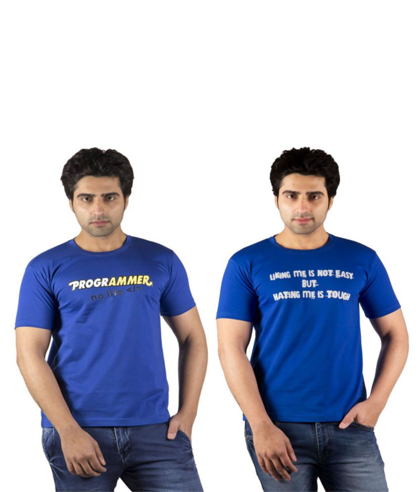 Schonheits Combo Of 2 Blue Blended Cotton T-shirt
