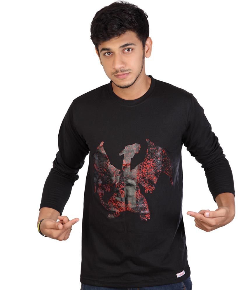 Total Madness Black Cotton Round Neck Full Sleeves Pokemon Charmeleon Printed T - Shirt