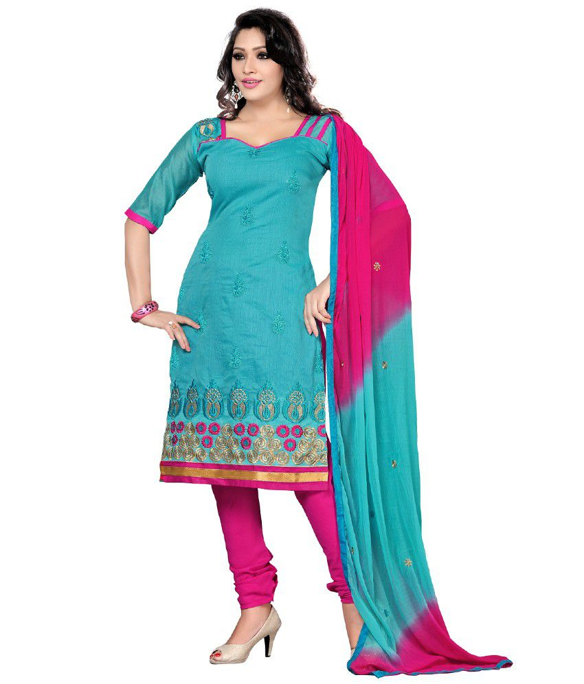 Fashiondeal Turquoise Chanderi Unstitched Dress Material