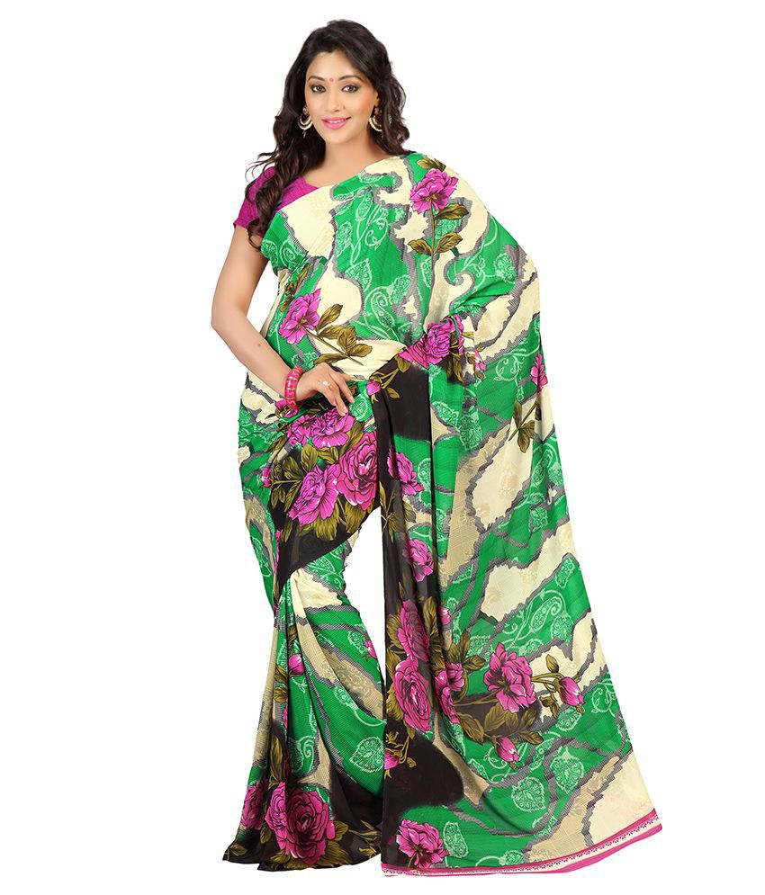 Florence Green Georgette Saree