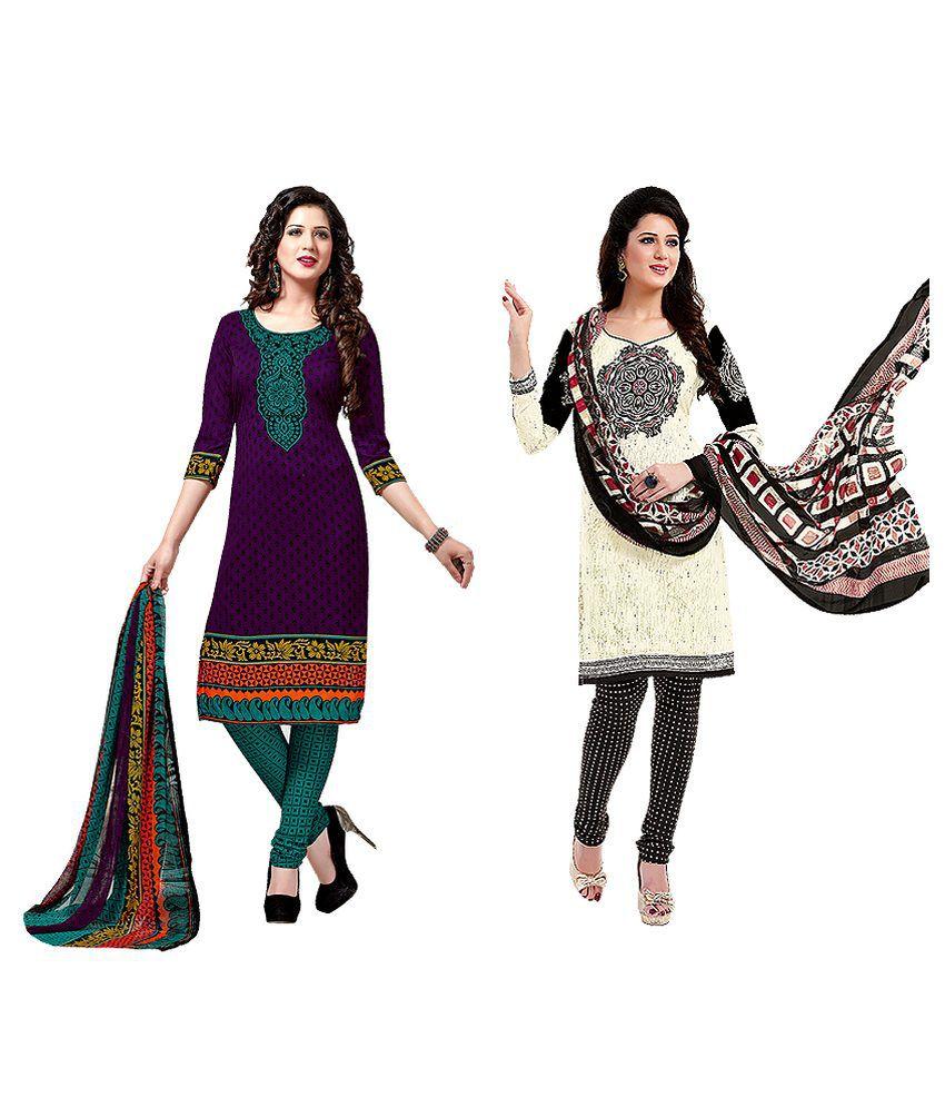 Salwar Studio Multi Art Crepe Unstitched Dress Material