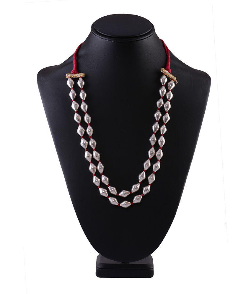 Silver Shop Silver Double Line Wax Contemporary Necklace