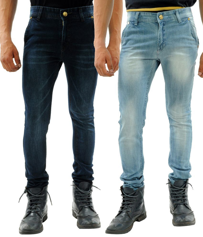 Sny Hind Outfitters Attractive Combo of 2 Blue Slim Fit Jeans for Men