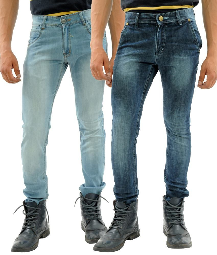 Sny Hind Outfitters Catchy Combo of 2 Blue Slim Fit Jeans for Men