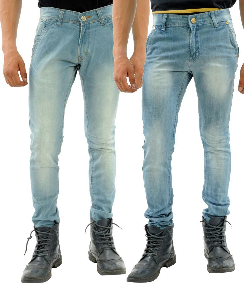 Sny Hind Outfitters Combo of 2 Light Blue & Blue Slim Fit Jeans for Men