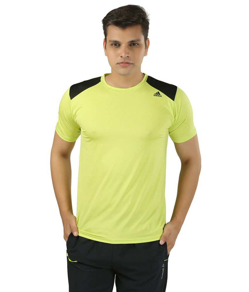 Adidas Yellow Polyester T Shirt
