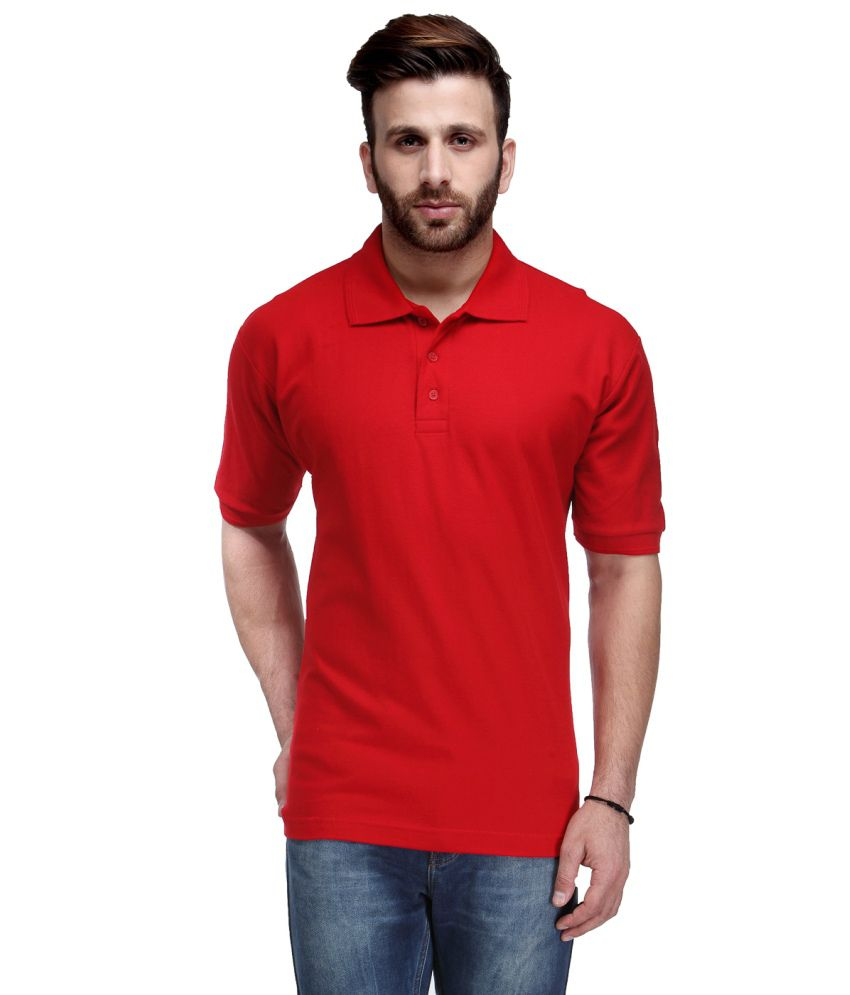 Ausy Red Cotton Mens T Shirt
