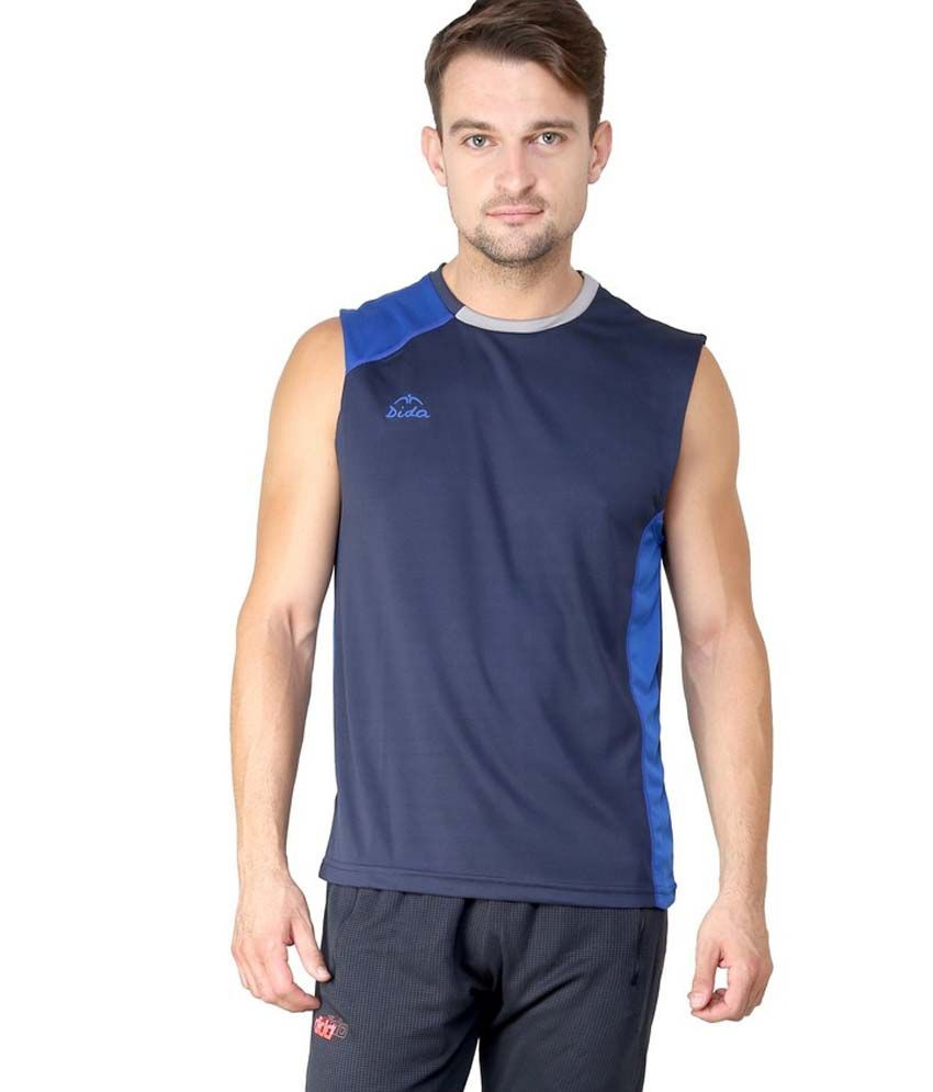 Dida  Navy Round Neck Sleeveless Polyester T-Shirt