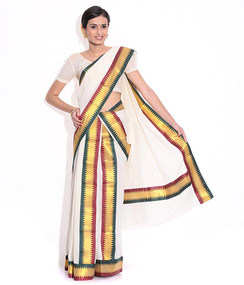 cfa2c1860e Fashion Kiosks Cream Cotton Kerala Kasavu Set Mundu (2 Mtr X 2.5Mtr) With  1Mtr Matching Blouse - Buy Fashion Kiosks Cream Cotton Kerala Kasavu Set  Mundu (2 ...