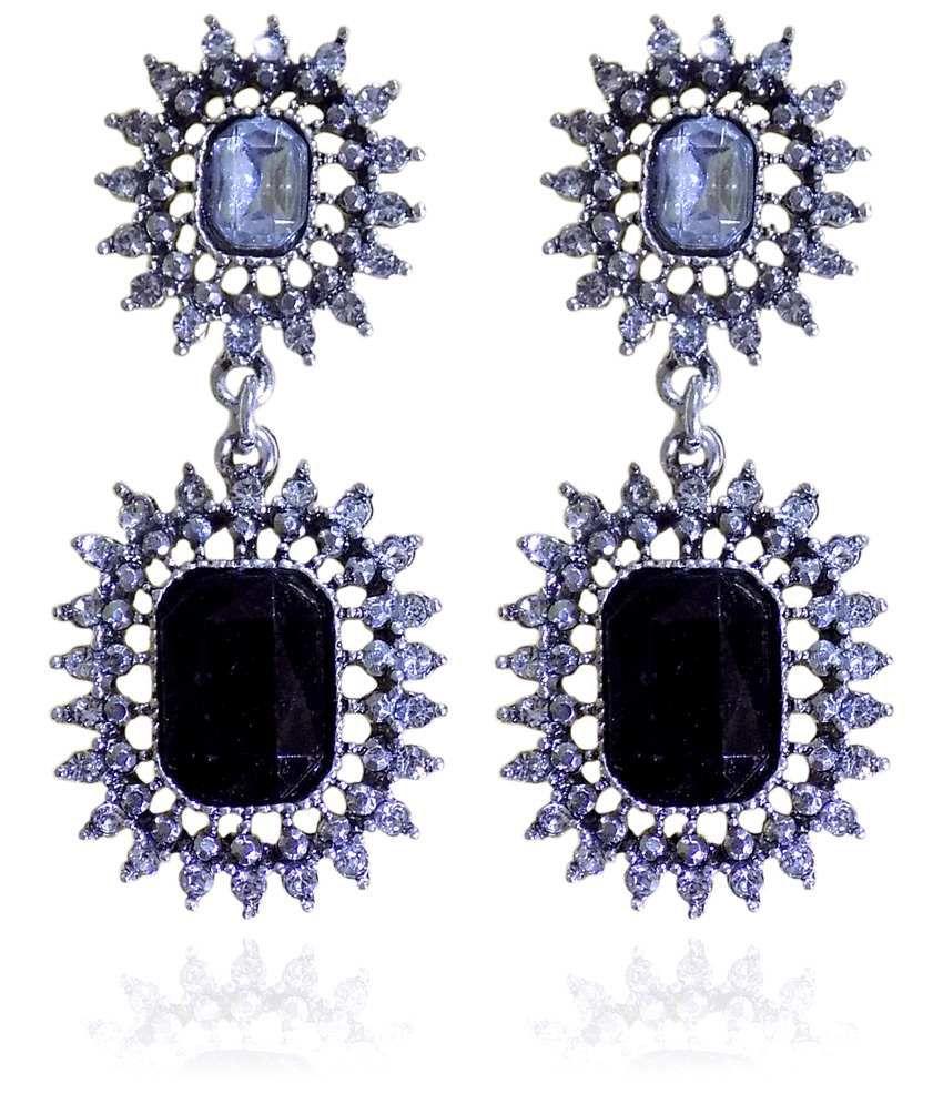 Optionsz Black Alloy Hanging Earrings