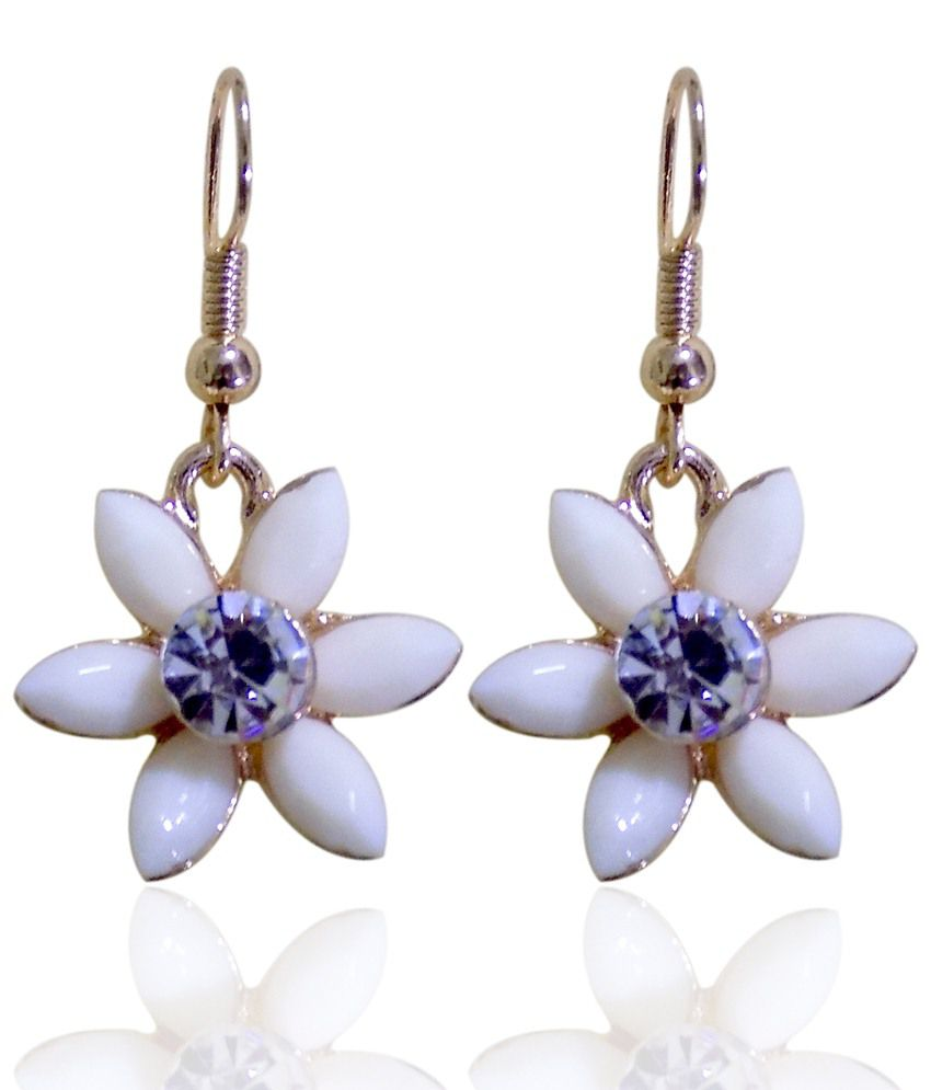 Optionsz White Alloy Hanging Earrings