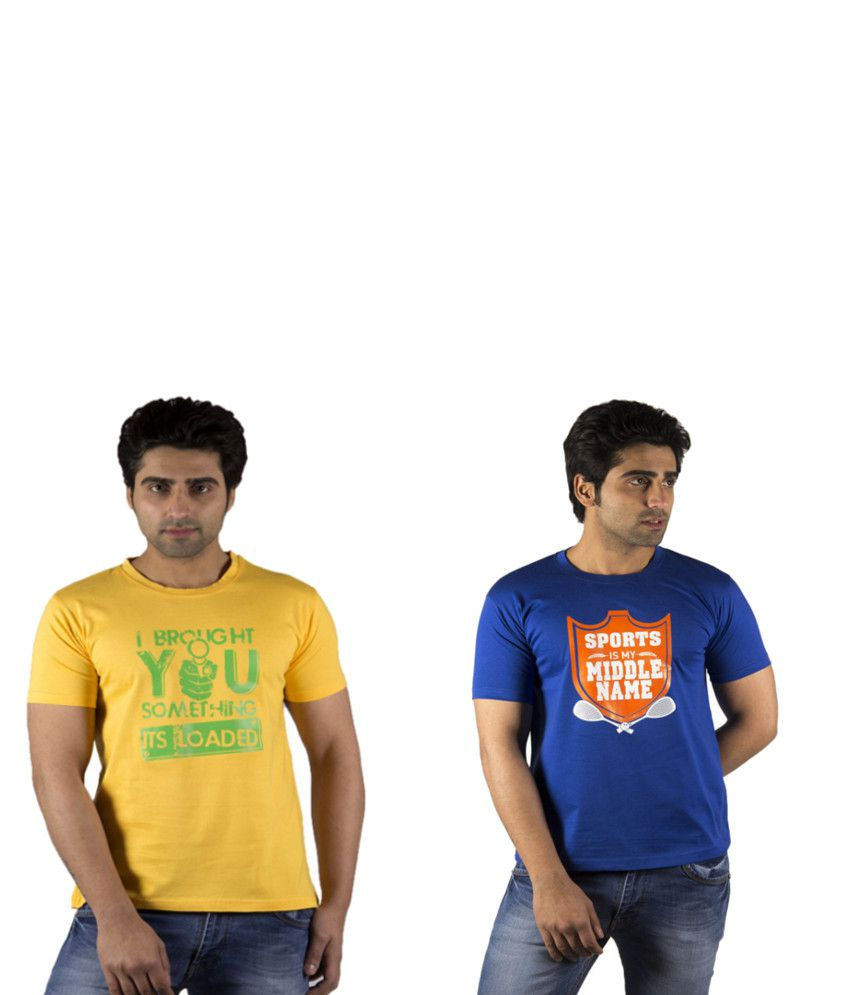 Schonheits Yellow And Blue Cotton Blend T-shirts (Combo Of 2)
