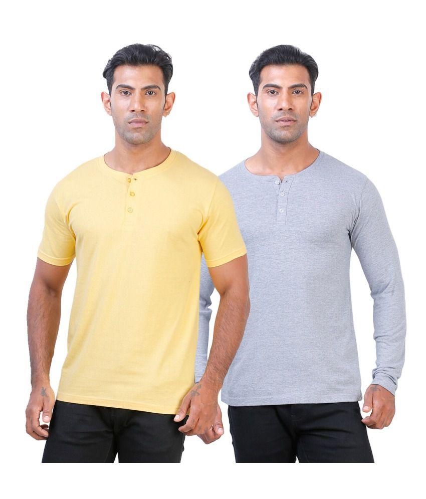 Street Junkies Golden Yellowand Grey Melange  combo of 2 Henley T-Shirts