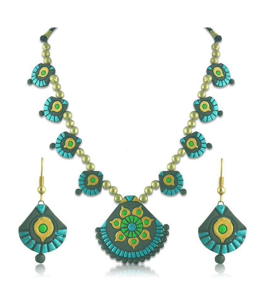 Swanvi Blue & Green Alloy Terracotta Necklace Set
