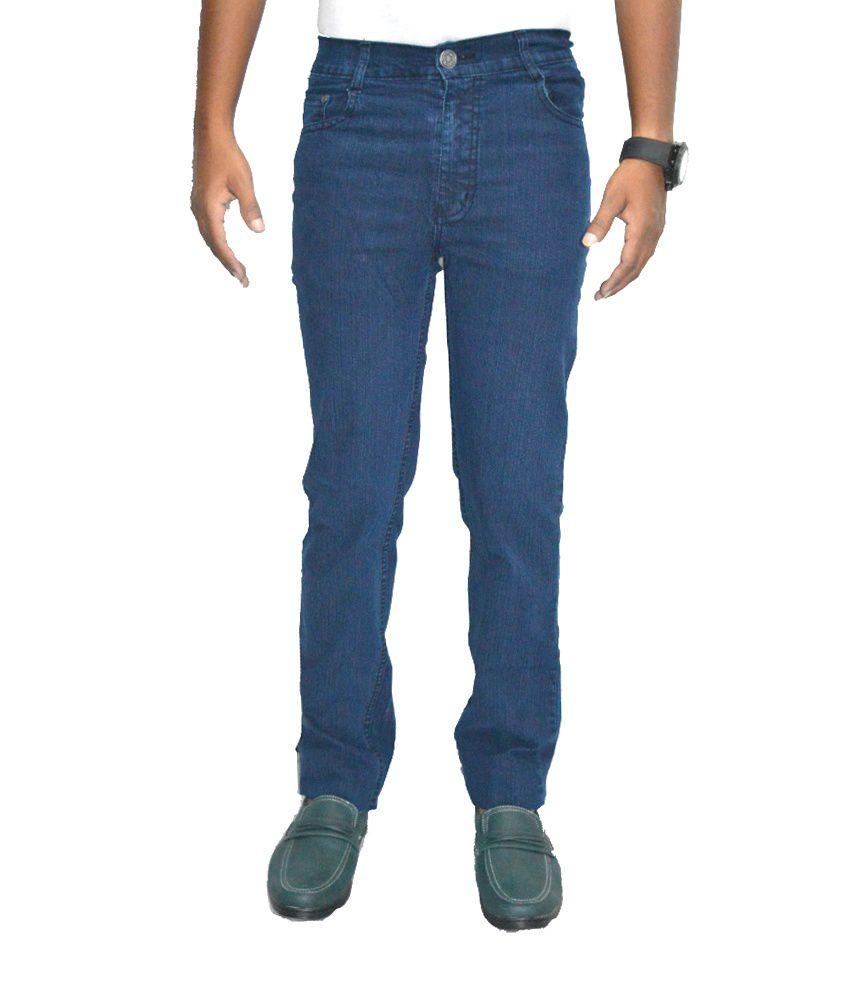 Benz Navy Cotton Regular Jeans For Men