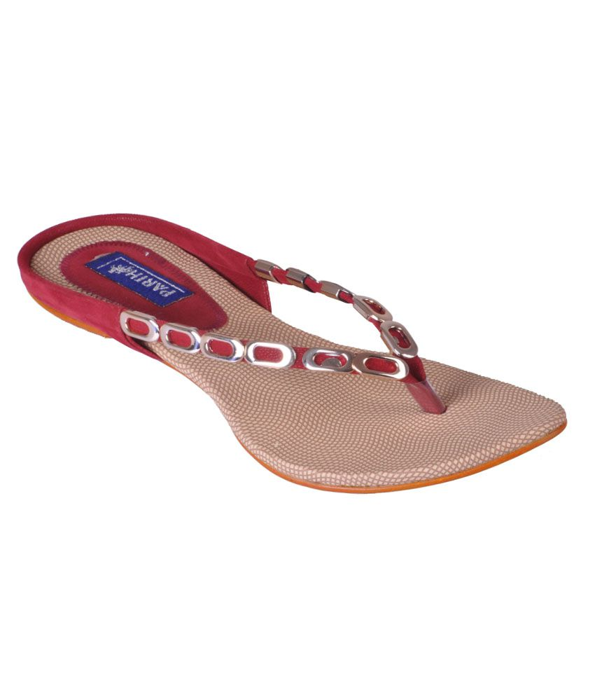 Gopal Shoes Red Faux Leather Daily Wear Flat Slip-on