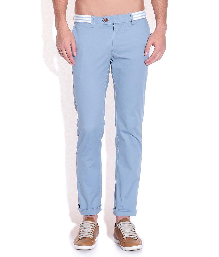 Indian Terrain Blue Slim Fit Trousers