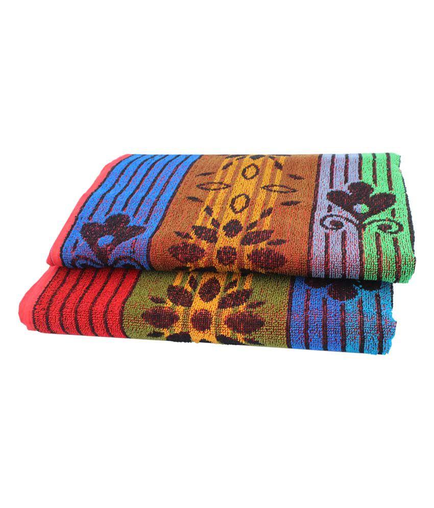 Mandhania Multicolour Cotton Black Bath Towel - Pack Of 2