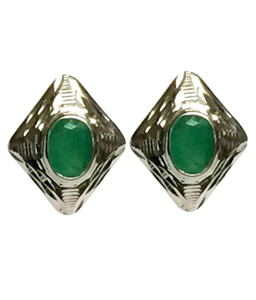 Nitya Gems 92.5 Silver Contemporary Emerald Oval Earrings