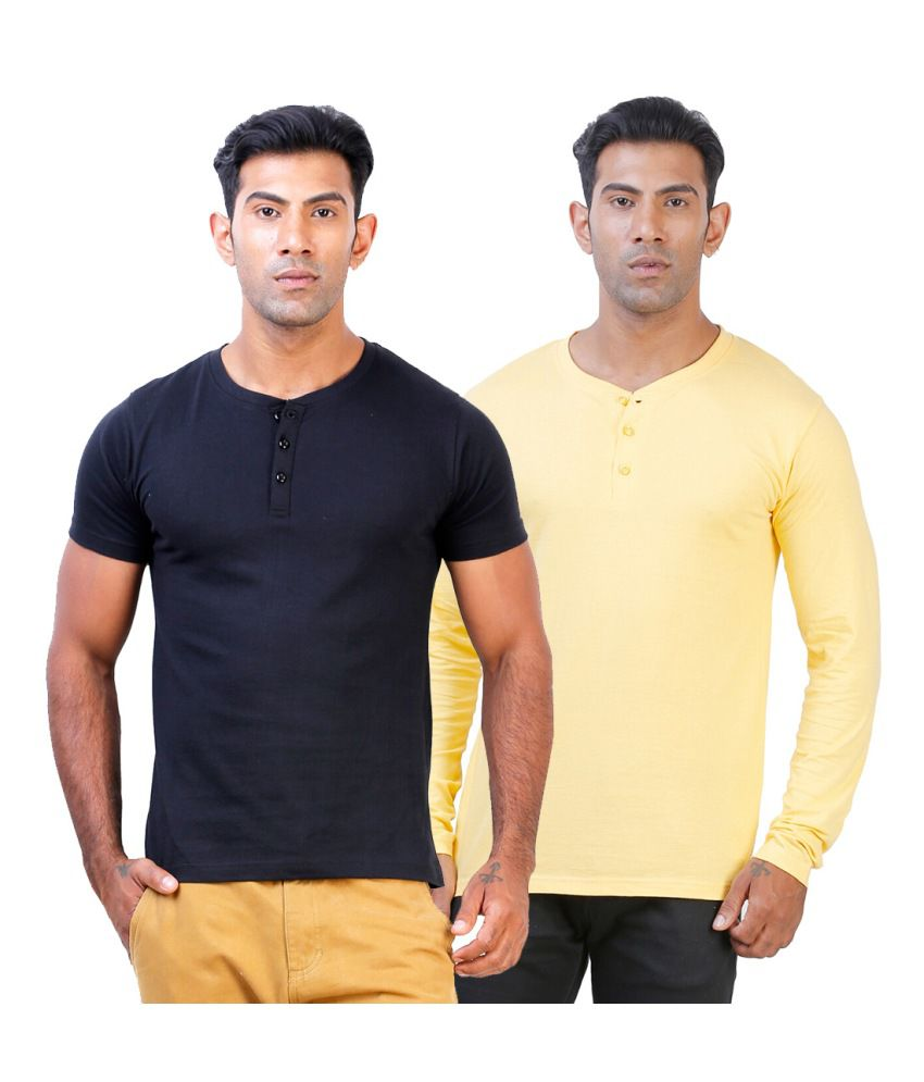 Street Junkies Black and Golden Yellow combo of 2 Henley T-Shirts