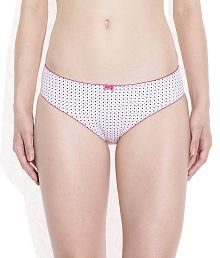 Amante White & Pink Polka Dot Printed Briefs