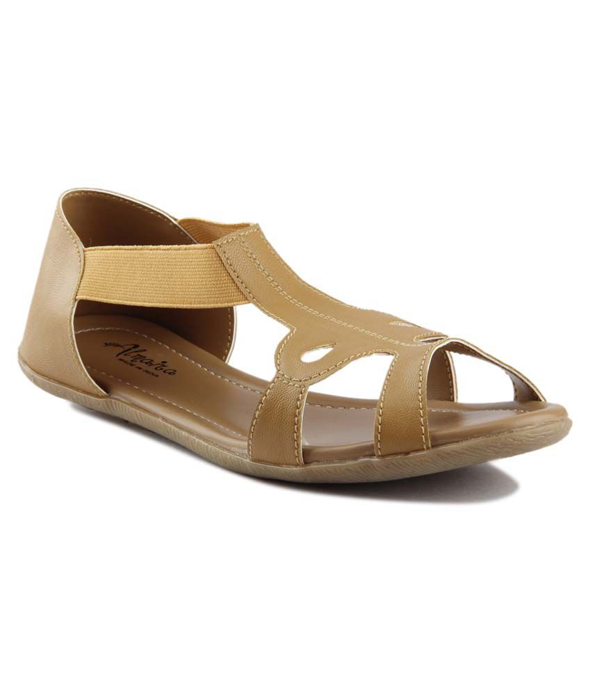 Almaira Beige Faux Leather Covered Back Flat Sandals