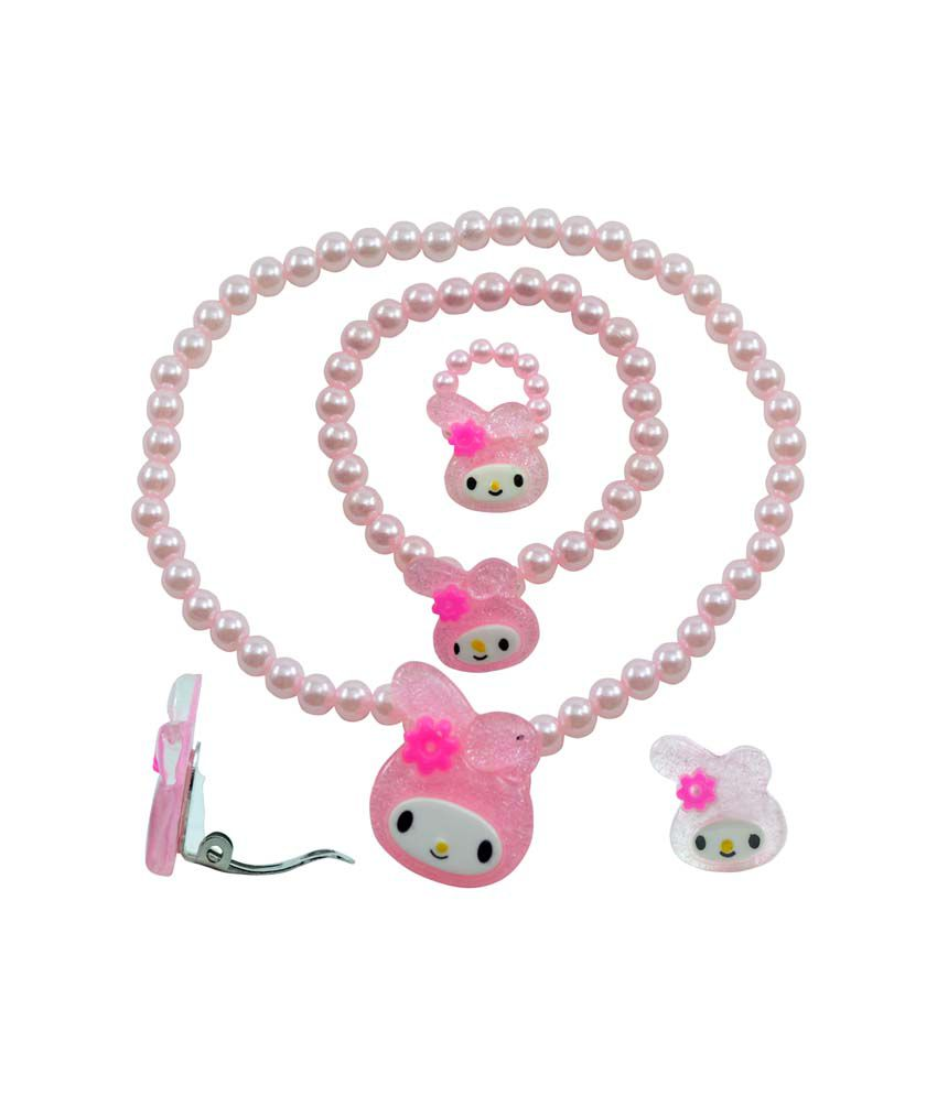 Angel Glitter Bunny Rabbit Pink Pearl Necklace Set