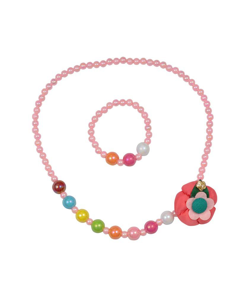 Angel Glitter Peach Snap Mum's Lil Wrap Necklace Set