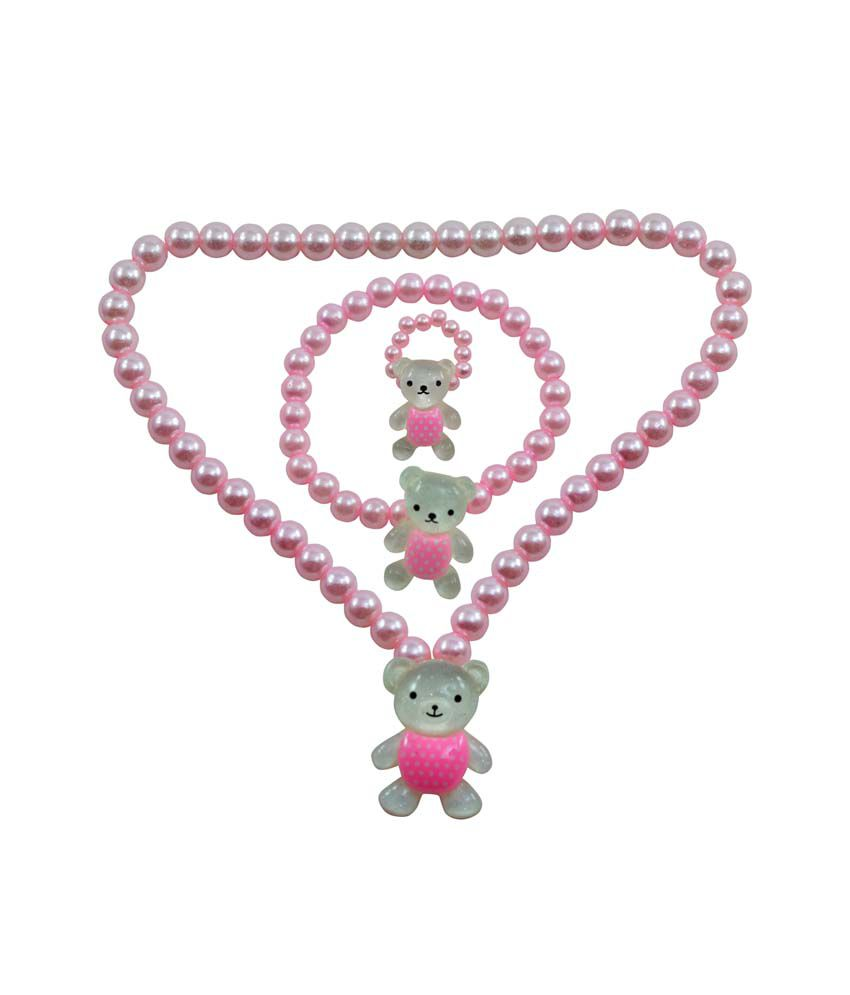 Angel Glitter Pink Pearl Teddy My Best Buddy Pink Pearl Necklace Set