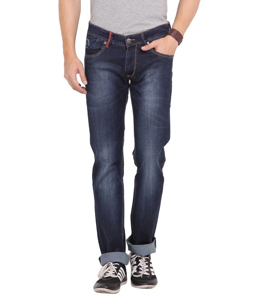 Dais Blue Cotton Slim Fit Jeans