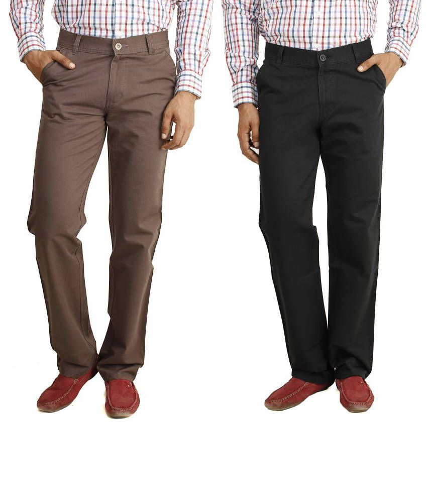 Eprilla Combo Of Black And Brown Cotton Chinos