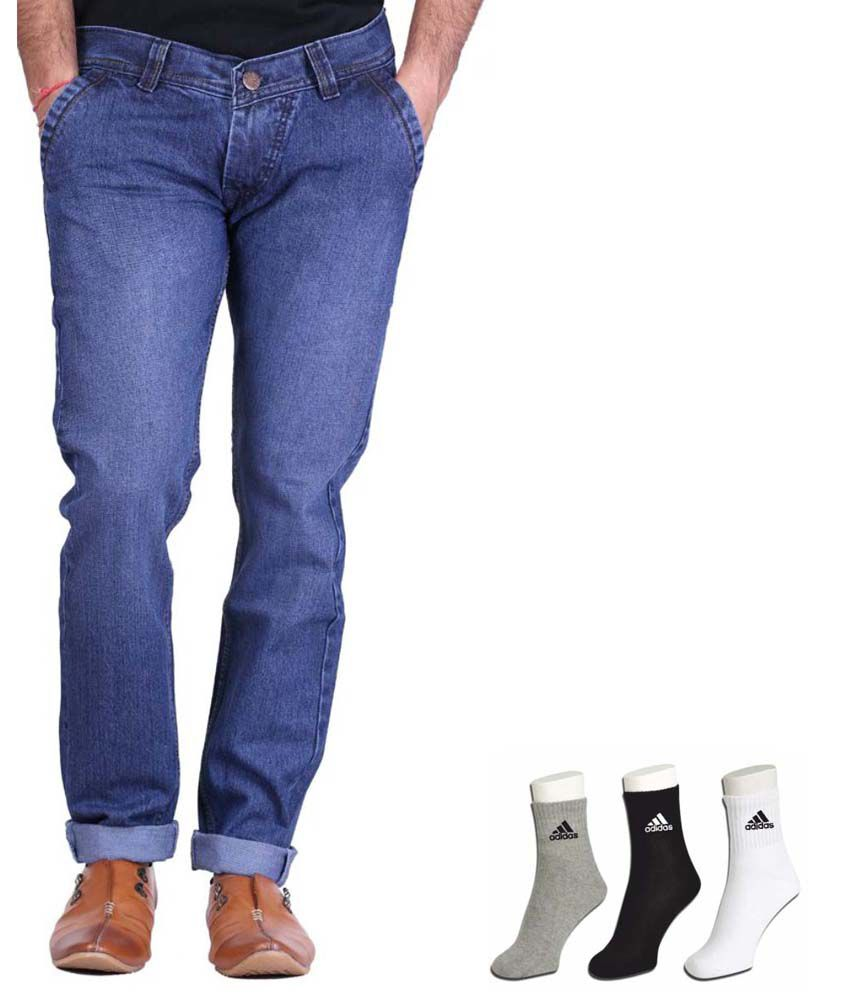 Haltung Blue Cotton Blend Regular Basics Jeans With Free Adidas Socks