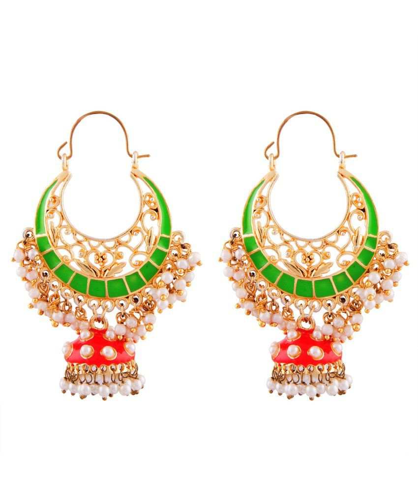 Kshitij Jewels Bridal Pink Alloy Jhumkis